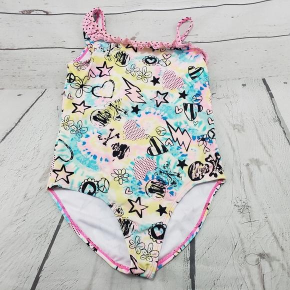 Op Swim Suit Tankini Set Kids Swimwear Medium 7-8 Hot Pink Blue UPF 50+